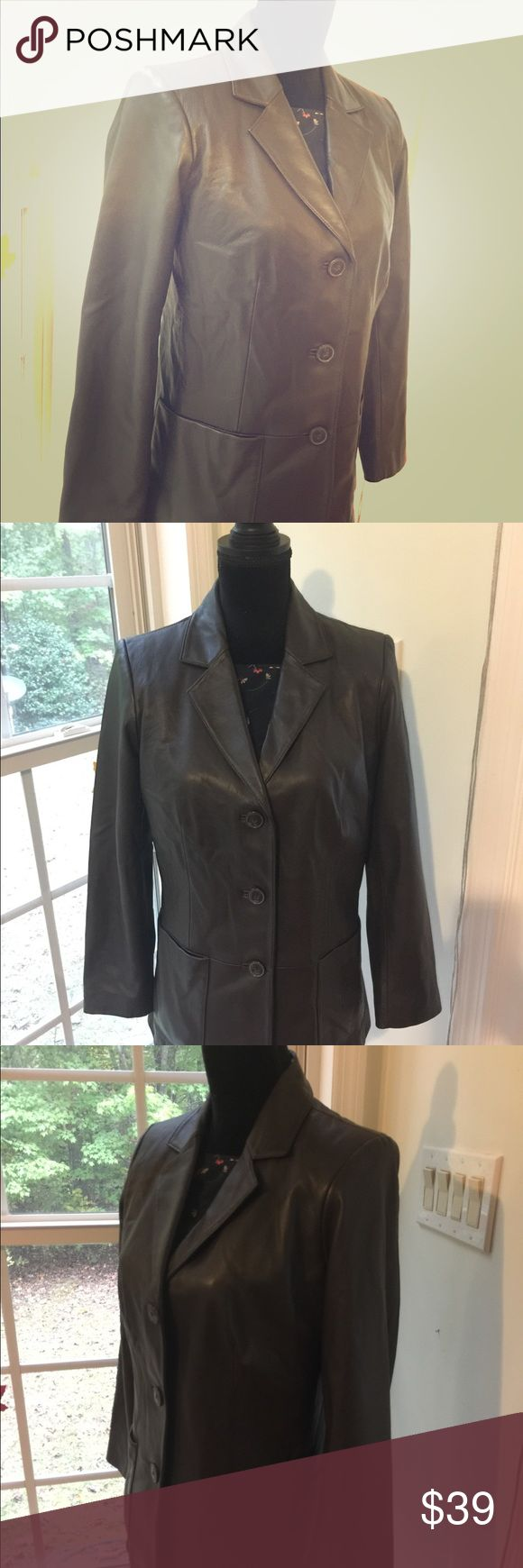 """Lambskin Leather Jacket Preston & York Small This brown genuine lambskin jacket looks very professional.  There are two large pockets in the front and a collar.  The jacket has a slight waist which makes it flattering.  The leather is VERY soft! The size is small but it is a little roomy for a small, enough for a sweater underneath. This jacket is preowned but in excellent condition with no marks or flaws.  Chest: 18 1/4"""" Shoulder point to shoulder point: 16 1/4"""" Sleeves: 23 1/2"""" Length: 29""""…"""