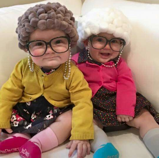 How cute are these babies dressed as old ladies?!