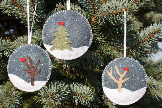 Set of 3 Felt Christmas Ornaments von GeorgeNRuby auf Etsy