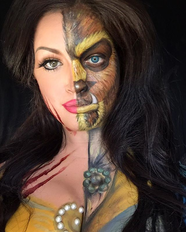 This Makeup Artist Gives Your Favorite Disney Characters a Twisted Makeover Belle and the Beast