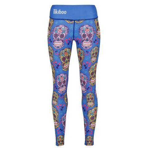Tikiboo Blue Sugar Skulls Leggings #Activewear #Gymwear #FitnessLeggings #Leggings #Tikiboo #Running #Yoga