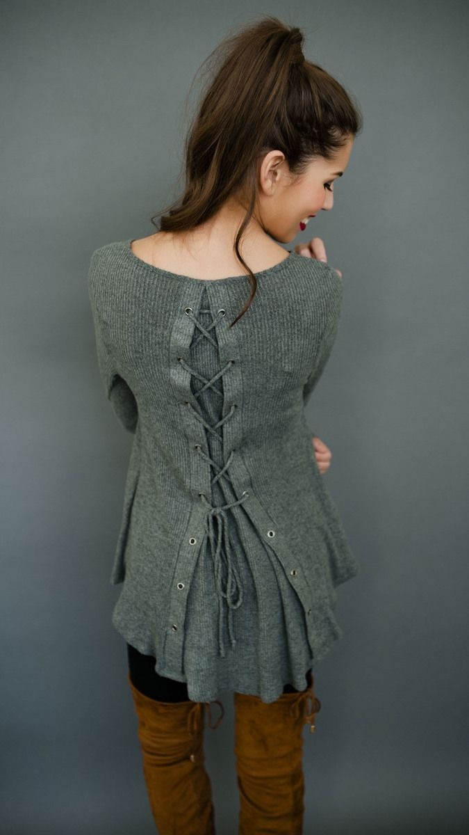 Olive Ribbed Tie Back Top - Dottie Couture Boutique