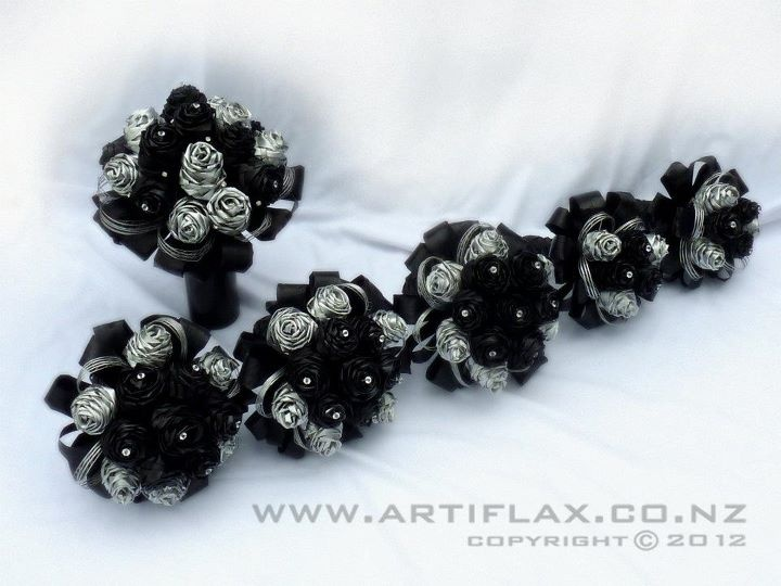 Black and silver flax wedding bouquets