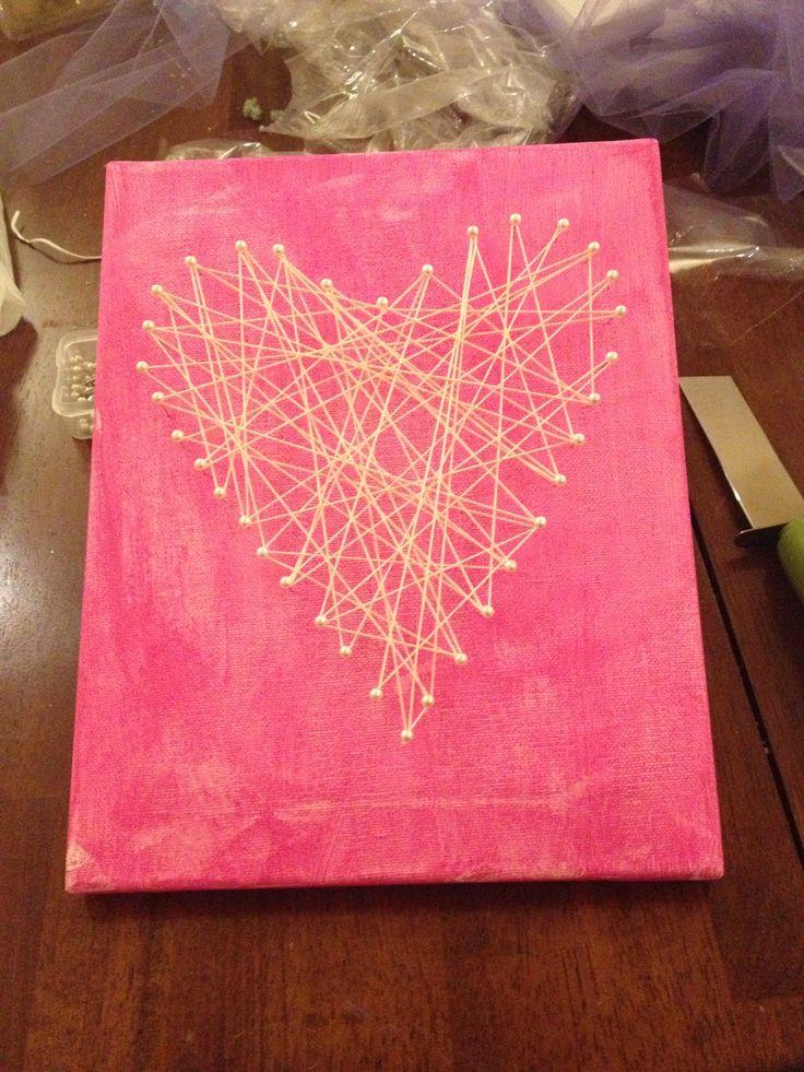 Made it! DIY yarn art for the girls room!