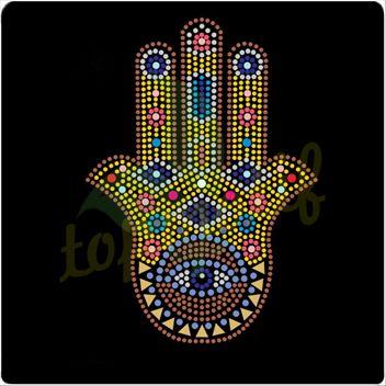 Buddha hand rhinestone motif for western garments decoration