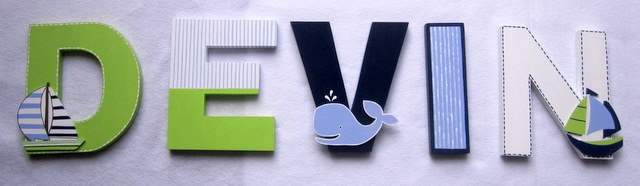 Baby Nursery  Wall Letters Custom Boutique Baby  Whale  Boat Nursery Hanging Handpainted Wood Letters Any Decor