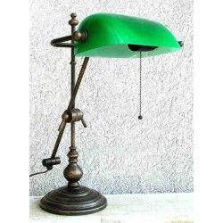 Lampada Ministeriale 52 cm ottone brunito verde a stelo