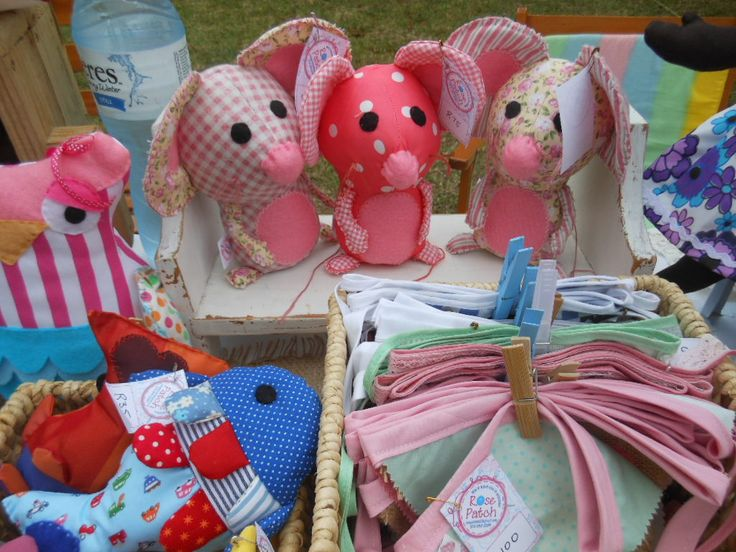 Three of our mice, a Squishy Fishy and bunting on a sunny day at a local market.