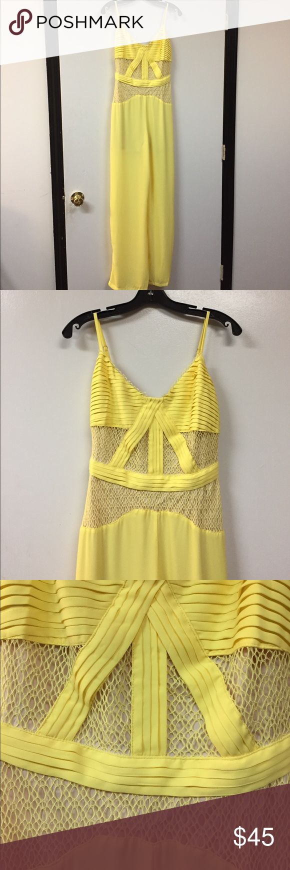 Clara Story Jumpsuit Yellow spaghetti strap crotchet lace bodice solid bottom, zipper back closure. Fully lined bodice and partial lined pants Clara Story Pants Jumpsuits & Rompers