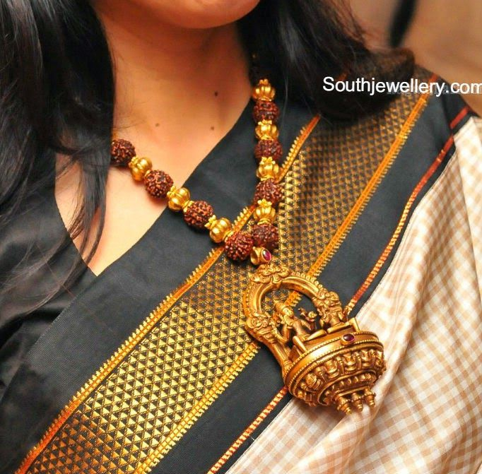 Rudraksh and Gold Balls Mala with Divine Pendant ~ Latest Jewellery Designs