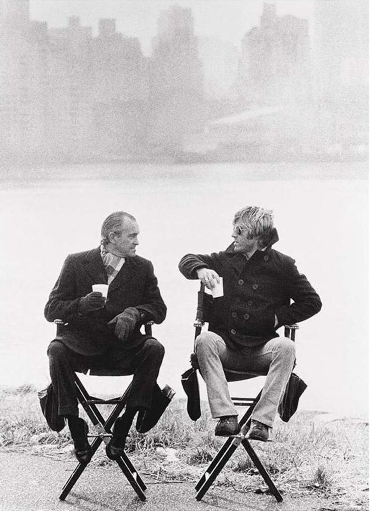 Richard Helms with Robert Redford on the set of the film Three Days of a Condor, 1975. Photo by Terry O'Neill/Getty Images