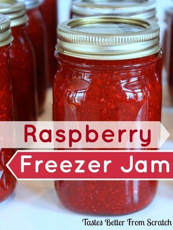 """Raspberry Freezer Jam- my Mom has made this recipe for decades and it's the best raspberry jam ever! No special tools needed."" TastesBetteFromScratch.com"