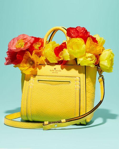 we greet May with this @Kate Mazur spade new york yellow handbag
