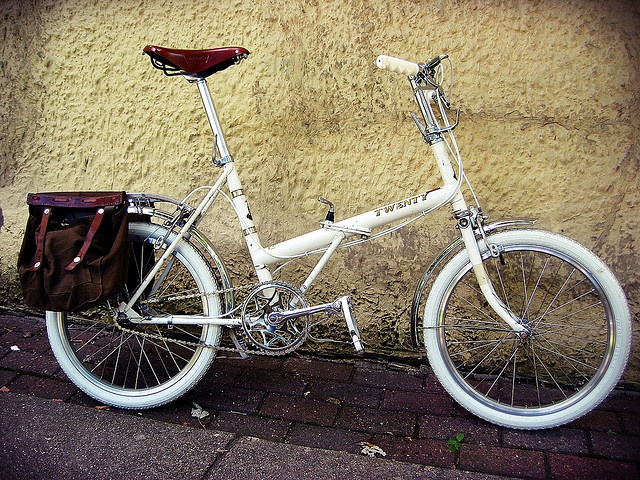 1971 Raleigh Twenty, via Flickr.  Bags are Swiss Army fly fishing bags repurposed - how cool!
