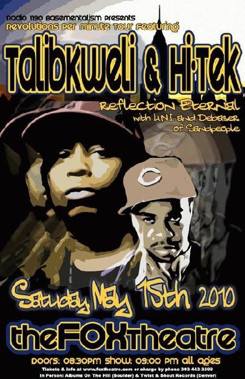 Original concert poster for Talib Kweli and Hi-Tek at the Fox Theatre in Boulder, Colorado in 2010. 11x17 card stock. Art by Mark Serlo.