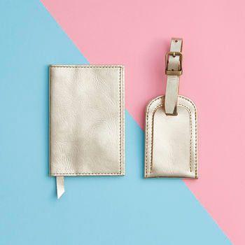 Metallic leer paspoort en Bagage label Set door VidaVidaAccessories