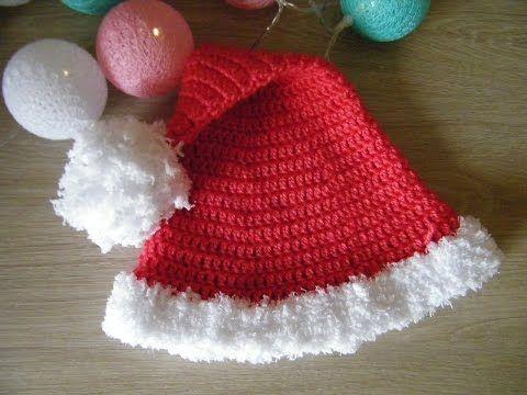 No 87# Czapka mikołaja na szydełku 6-12 m-cy - hat Santa claus for baby crochet - YouTube