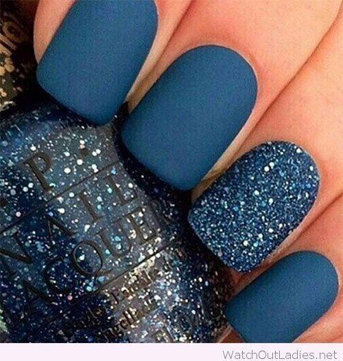 Navy blue matte nail polish