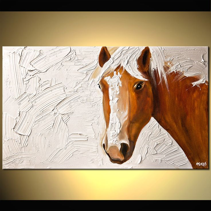 Original abstract art paintings by Osnat - horse head on white background