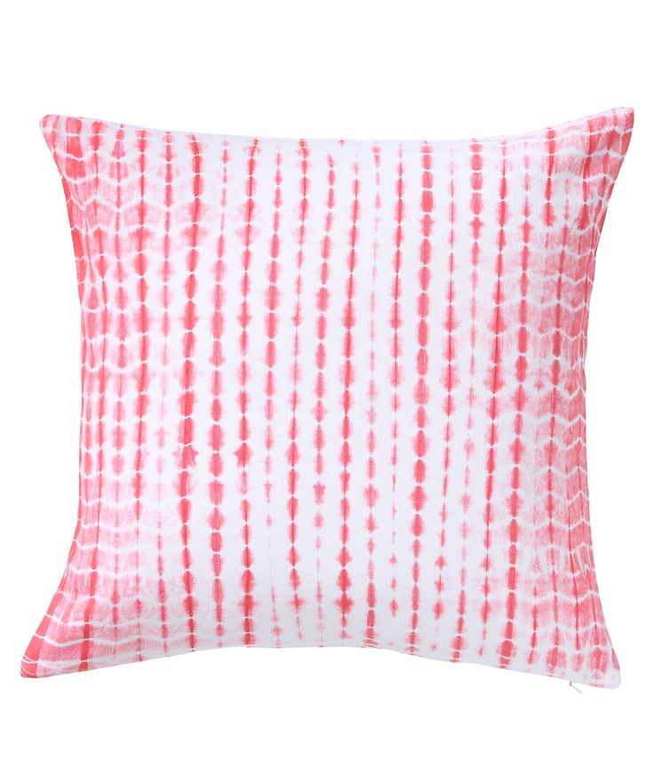 Casement fabric is tie-dyed to form sparse streaks of strawberry pink. The design brings a cool vibe with the light and dark effect due to the hand tying technique. www.theindianpick.com
