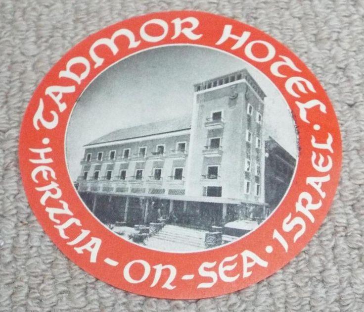 TADMOR HOTEL - HERZLIA ON SEA - ISRAEL - VINTAGE HOTEL LUGGAGE LABEL