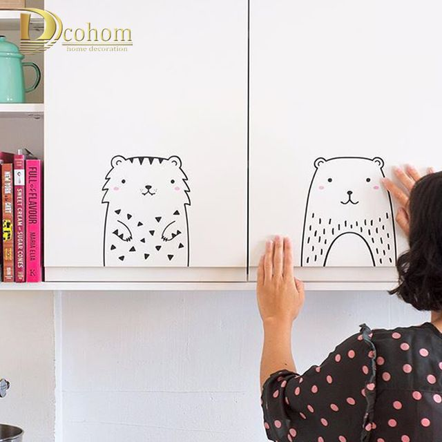 Cute Animal DIY Cartoon Wall Sticker For Kids Room Living Room Home Decor Art Poster Nordic Style Kids Decoration Wall Decals