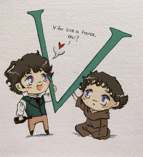 """Oh my goodness - way too cute! George Blagden as Grantaire from Les Mis and Athelstan from """"Vikings""""."""