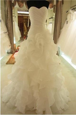 Lace Up Simple Ivory A-line Sweetheart Cheap Plus Size Wedding Dresses W24