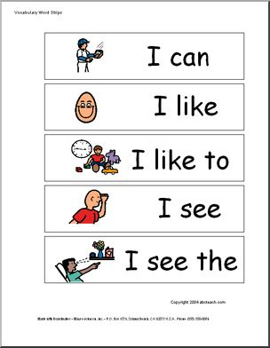 Sight Word phrases: Word Wall or strip boards.  Pictures included.