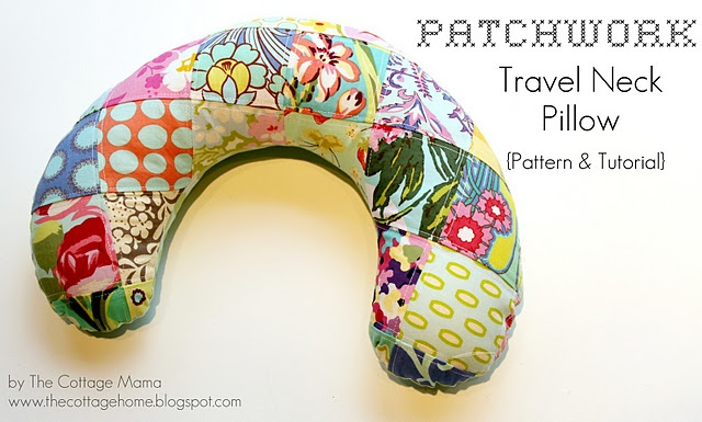 Travel neck pillow tutorial and pattern, from: http://thecottagehome.blogspot.co.uk/2011/12/patchwork-travel-neck-pillow-pattern.html
