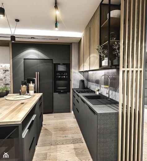 Projekt Mieszkania Wawa Bemowo 2018 Duza Szara Kuchnia W Ksztalcie Litery L W Aneksie Z Wys Cottage Kitchen Design Modern Kitchen Design Kitchen Room Design