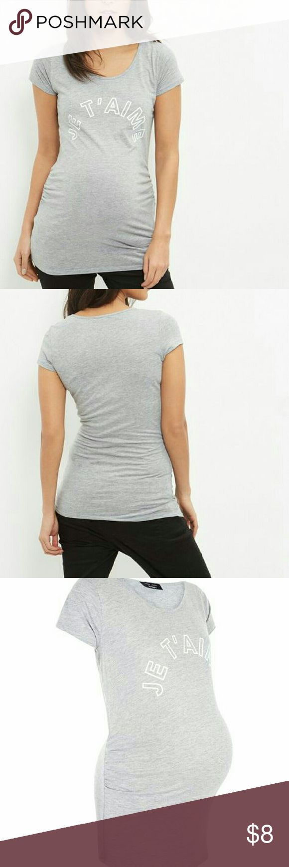 New Look maternity je t'aime printed tshirt Roomy and in good condition size uk 14 us 10. My favorite shirt while pregnant in my 3rd trimester. New Look Tops Tees - Short Sleeve