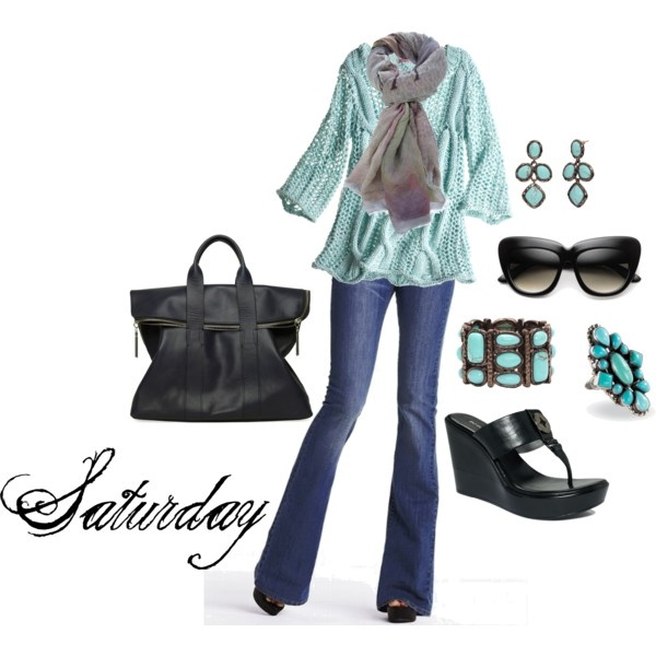 Jean Outfit (turquoise, grey, black)