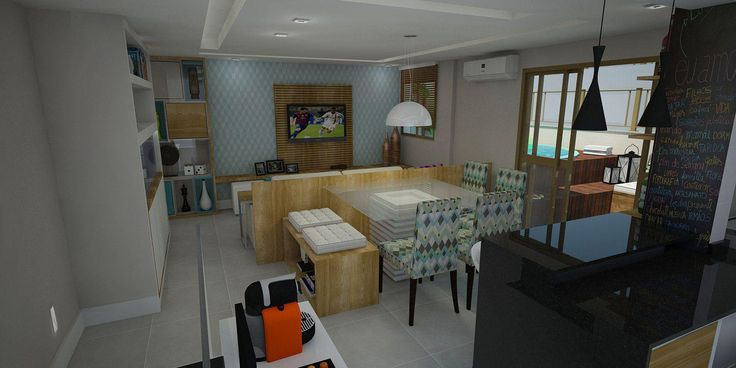 Sala de estar e jantar com cozinha americana. Piso cimento queimado, cadeiras estampadas. Projeto: Alessandra Onofri
