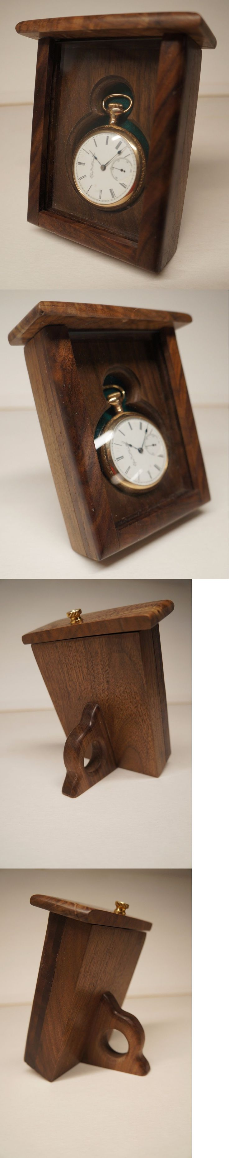 Antique 3940: Single 18 S Pocket Watch Display Case, Solid Walnut BUY IT NOW ONLY: $75.0