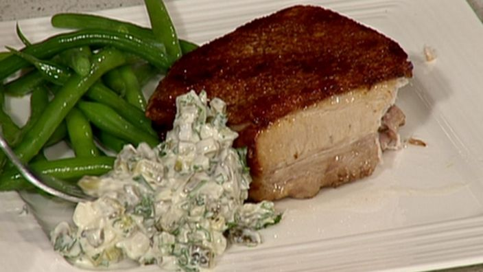 Succulent belly pork with gherkin dressing