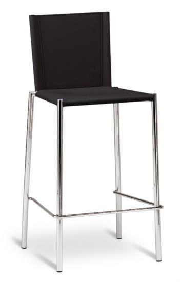 Sgabello in metallo con sedile e schienale in cuoio bianco