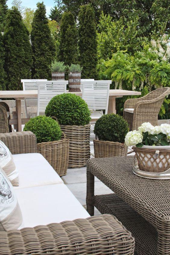 Using Grey Rattan Kubu Chairs In Modern Country Style Gardens Patio Garden Outdoor Gardens Garden Chairs