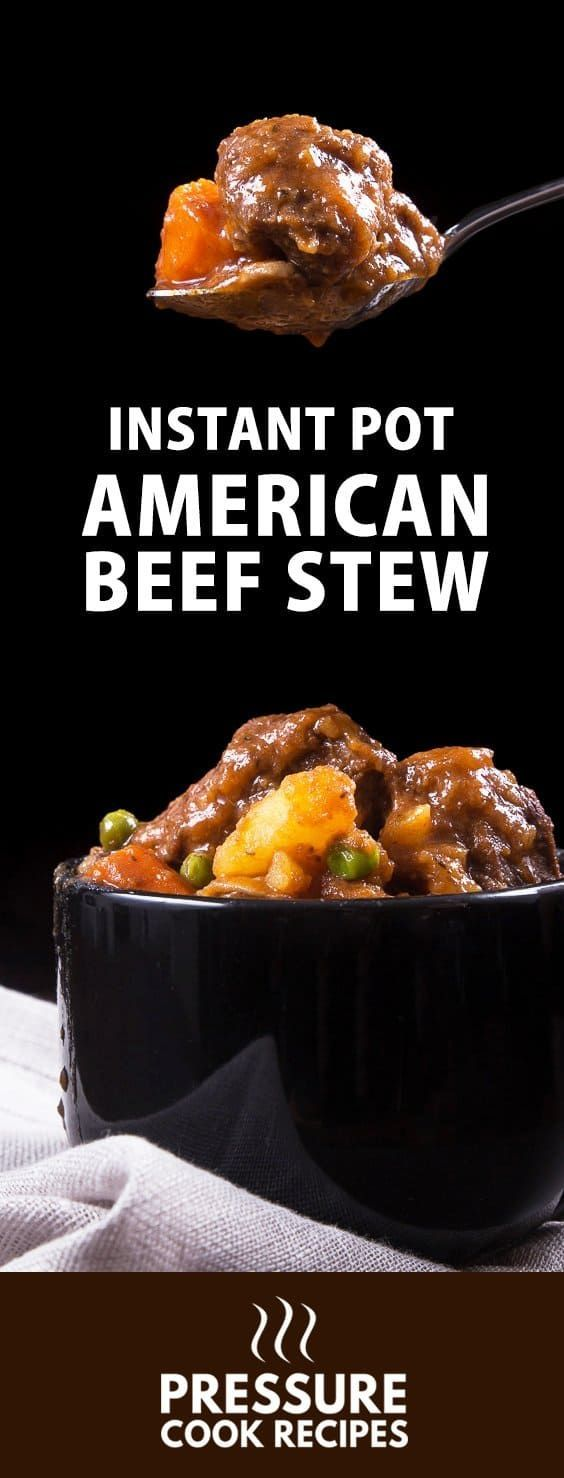 Classic American Instant Pot Beef Stew Recipe: Make this soul-satisfying beef stew. Tender & moist pressure cooker chuck roast immersed in a rich, hearty, umami sauce. via @pressurecookrec
