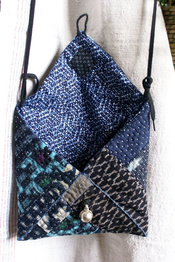 small bag pouch  in vintage kasuri Japanese fabrics by lesamovar