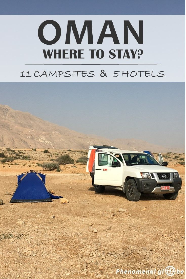 Oman is the perfect country for a road trip and to go camping! Wild camping in Oman is legal and you'll be able to stay at deserted beaches, in the mountains and sleep in the desert. Check out 11 great campsites (wild camping) and 5 amazing hotels (for wh