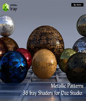 36 Versatile metallic patterns Iray shaders for Daz Studio. Why versatile? The set consists out of 4 parts:  (1) 12 x full patterned metallic shaders with 5 tiling options to choose from. (Includes Metallic, Albedo, Normal and Glosiness maps). (2) 12 x patterned metallic shaders with 5 tiling options to choose from. (Includes Metallic, Normal and Glosiness maps.) (3) 12 x patterned metallic shaders with normal maps only and glossiness set to 0%. (4) 8 x plain metal shader options to choose…