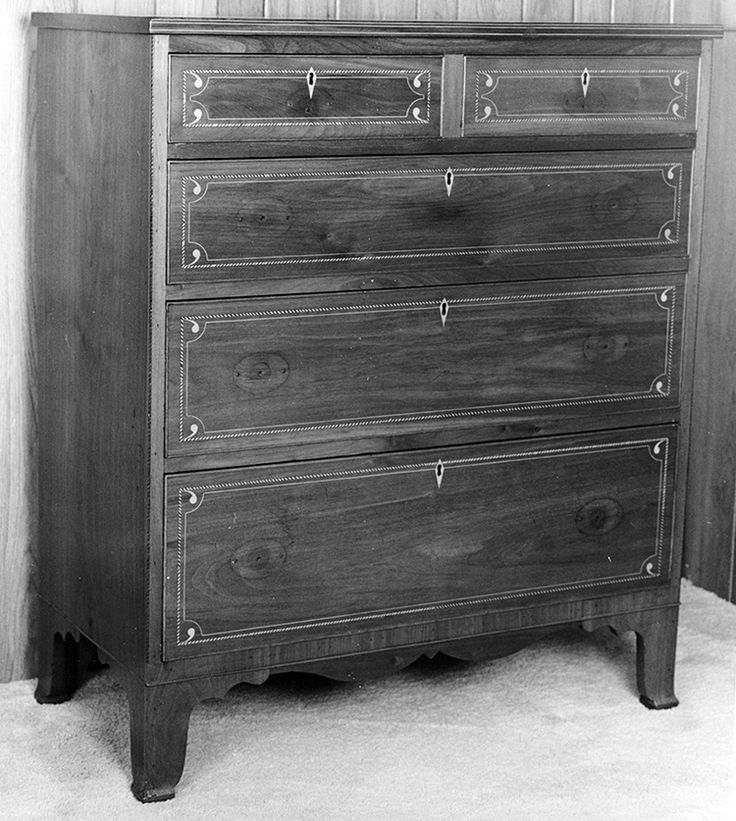 "Fig. 112: Chest of drawers by Jesse Clodfelter, 1829, Davidson Co., NC. Walnut with yellow pine, tulip poplar, and light- and dark-wood inlay; HOA: 44-3/8"", WOA: 36-13/16"", DOA: 18-1/4"". Private collection. MESDA Object Database file S-11545. <a onclick='return hs.printImage(this)' href='#'>Print</a>"