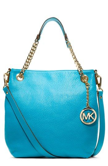 White or Blue MICHAEL Michael Kors 'Jet Set - Medium' Chain Shoulder Tote available at #Nordstrom