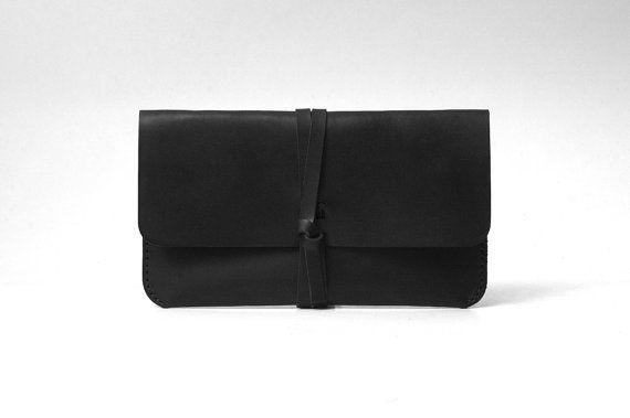 Embrayage de rouleau de cuir / sac de voyage / utilitaire cas / sac noir de cadeau, accessoires mariées, personnalisés, fait main, demoiselle d'honneur de mariage