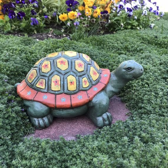 Sea Turtle Handmade and Hand Painted Concrete Garden Statue