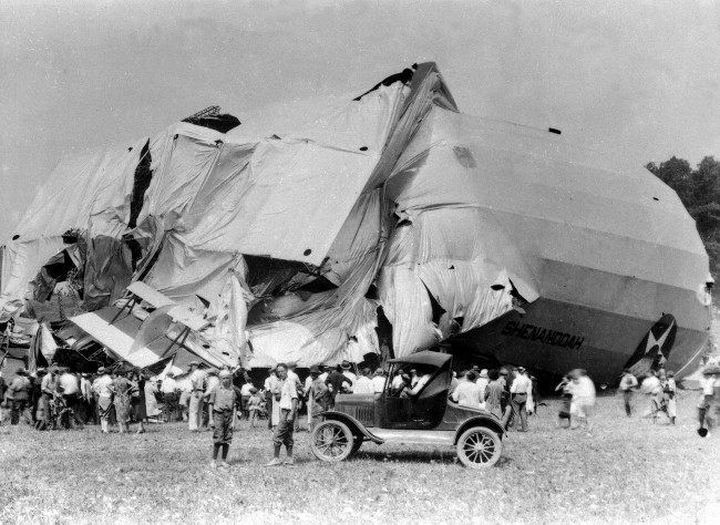 USS Shenandoah lies in ruins in Caldwell, Ohio on Sept. 4, 1925. Fourteen crew members died and twenty-nine crew members survived the destruction of the airship which took off from Lakehurst, N.J., on Sept. 2. The Shenandoah was the first rigid dirigible made in America.