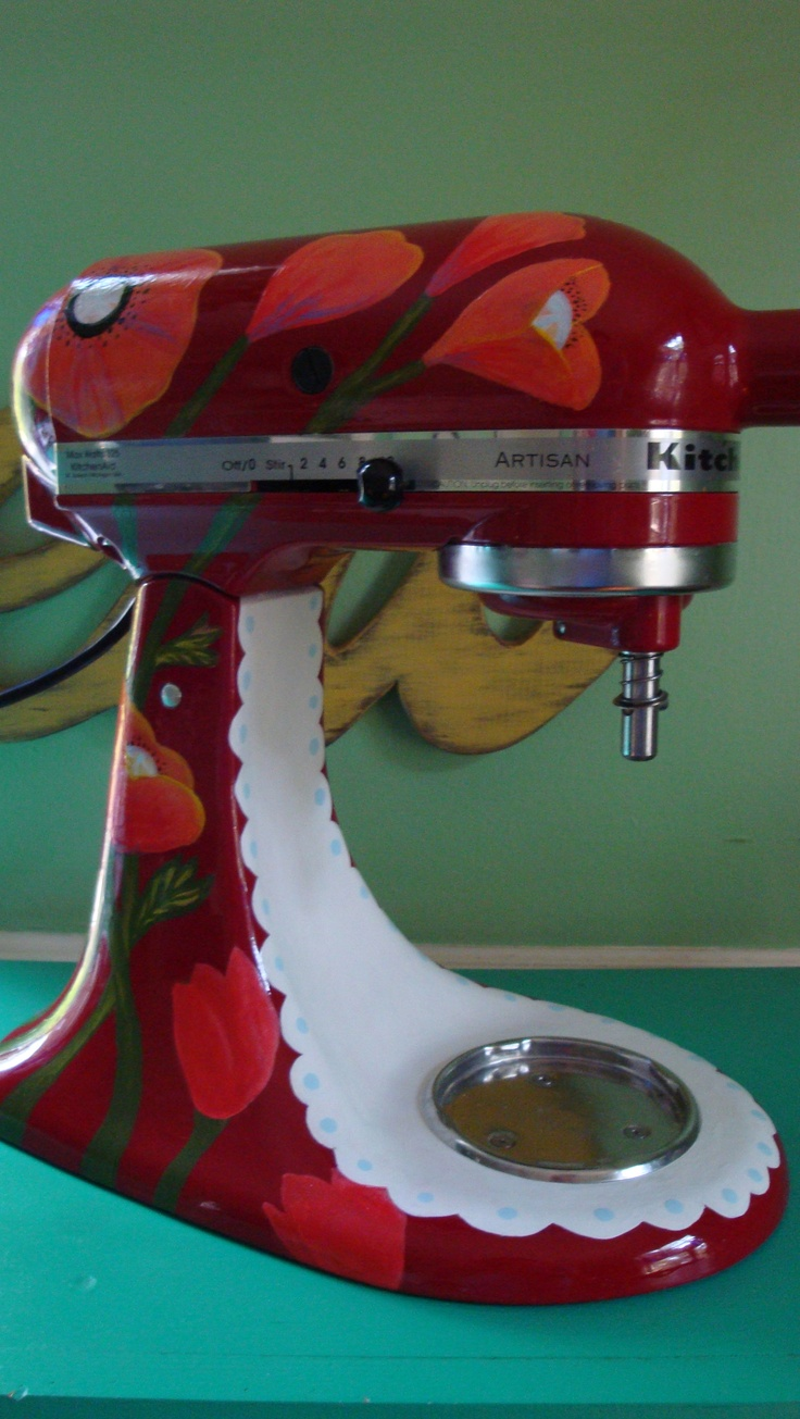Jeni painted my mixer with flowers and a bumblebee custom kitchenaid pinterest mixers and - Decorated kitchenaid mixer ...
