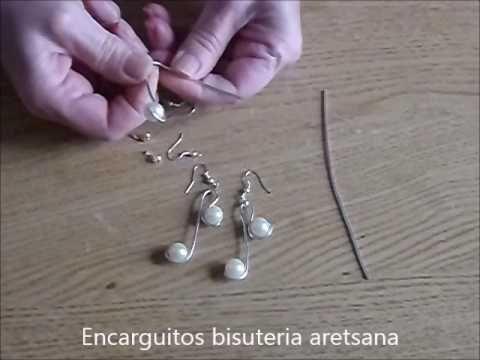 Como hacer unos pendientes de alambre de aluminio y perlas (VIDEO MEJORADO) - YouTube