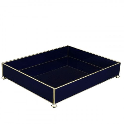Cobalt+Metal+and+Glass+Large+Tray